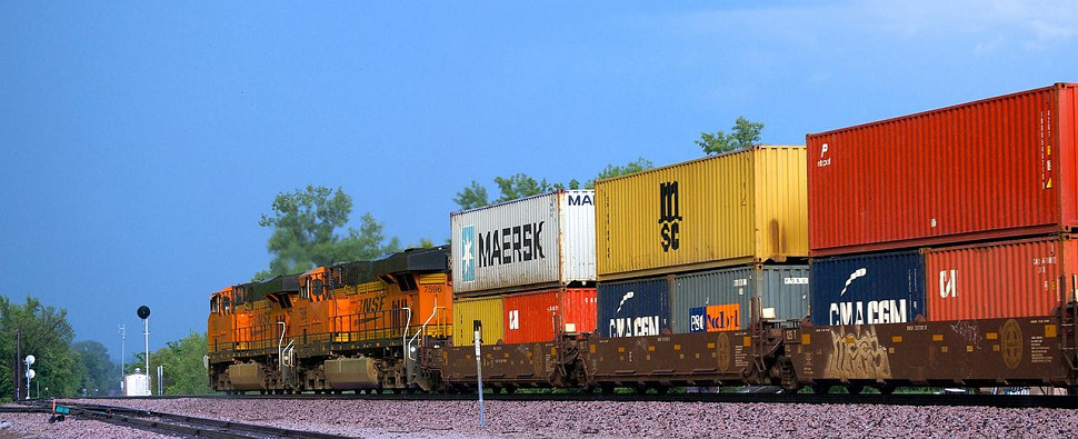 Rail is being chosen by more shippers of shipments of export cargo and import cargo in international trade.