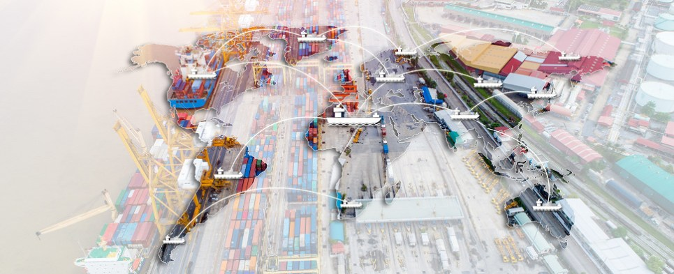 Using blockchain to manage shipments of export cargo and import cargo in international trade.