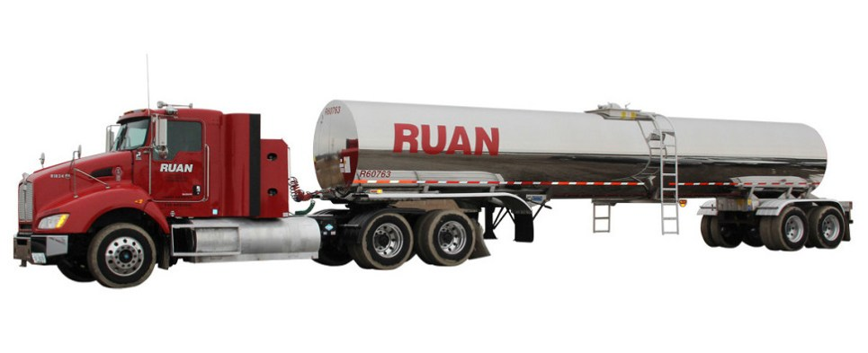 Trucking company delivers shipments of export cargo and import cargo in international trade.