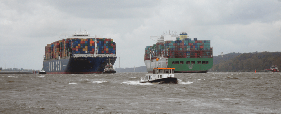 How container shipments of export cargo and import cargo in international trade will be carried in 2067.