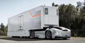 Autonomous trucks could carry shipments of export cargo and import cargo in international trade.