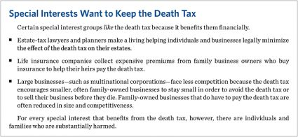 special interest death taxes