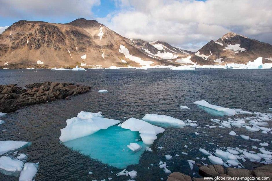 Brocken icebergs around Kulusuk Village, GREENLAND