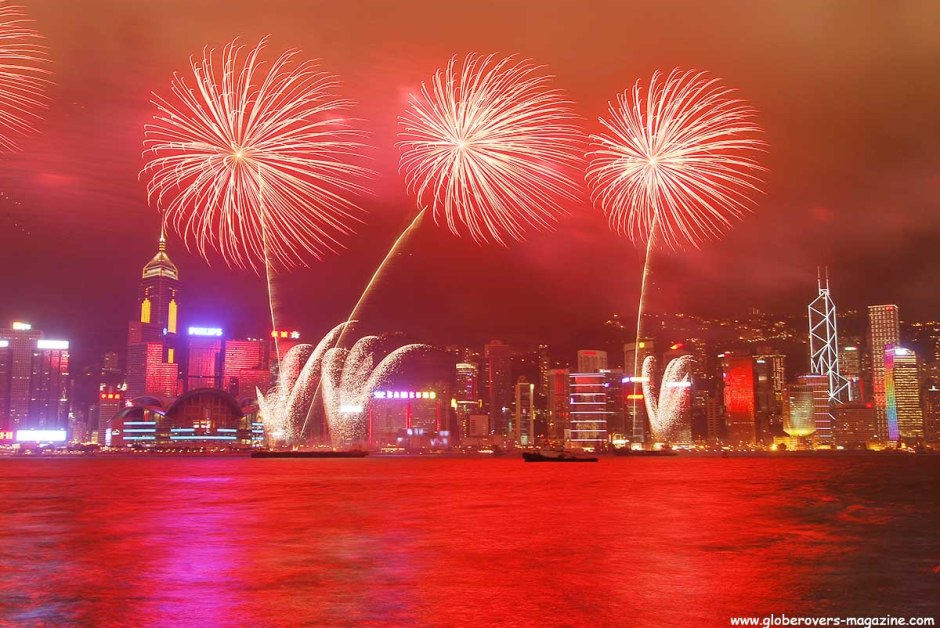 Fireworks over Hong Kong Island during the China handover on July 1, 1997