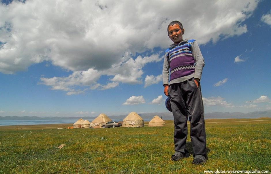 A Kyrgyz boy at the yurts around Song kul Lake, Kyrgyzstan