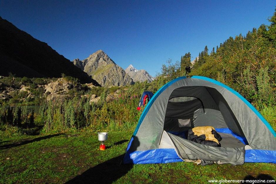 Overnight in a tent while hiking from Karakul via Ala-Kul Lake (3,560 m) to Altyn Arashan, Kyrgyzstan