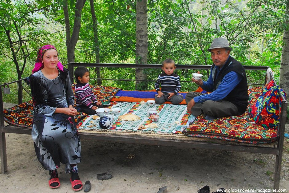 A Kyrgyz family at one of the many Homestays in Arslanbob village where you can have a nice room with dinner and breakfast for about $13. Lovely people indeed. Kyrgyzstan.