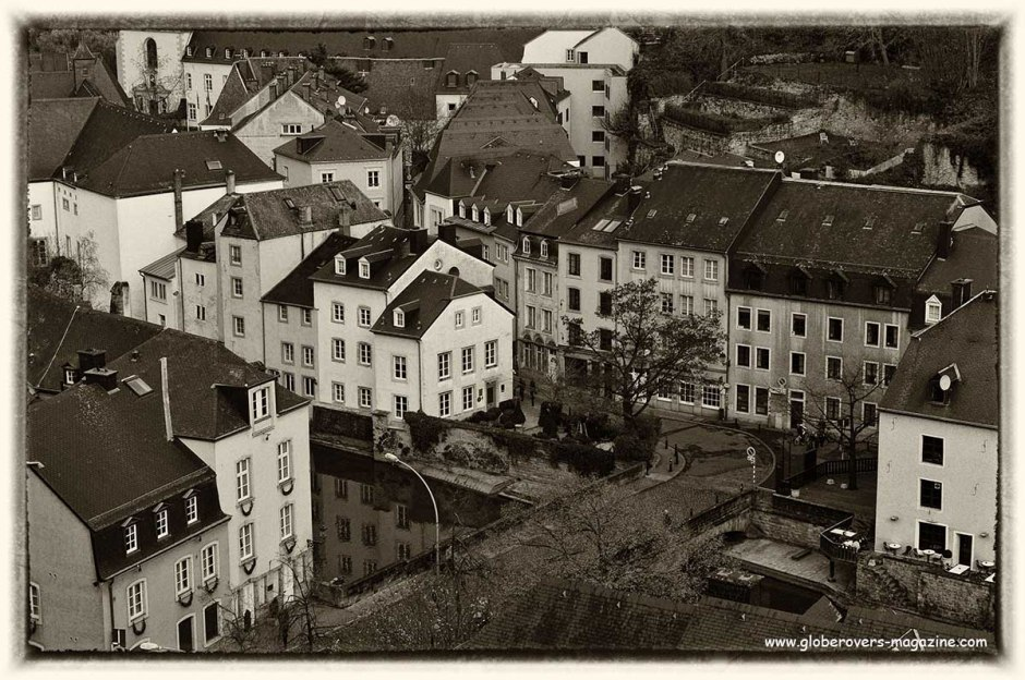 """View from the Ville Haute (""""High City"""") to the Ville Basse (""""Low City"""") and the Grund in the River Alzette gorge, LUXEMBOURG"""