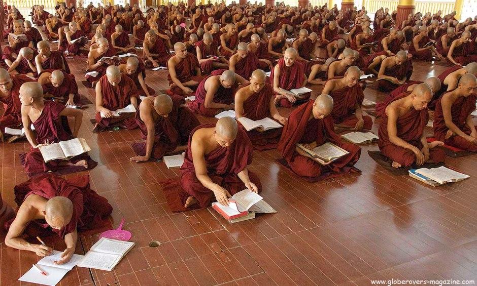 Monks at Kha Khat Wain Kyaung, Bago