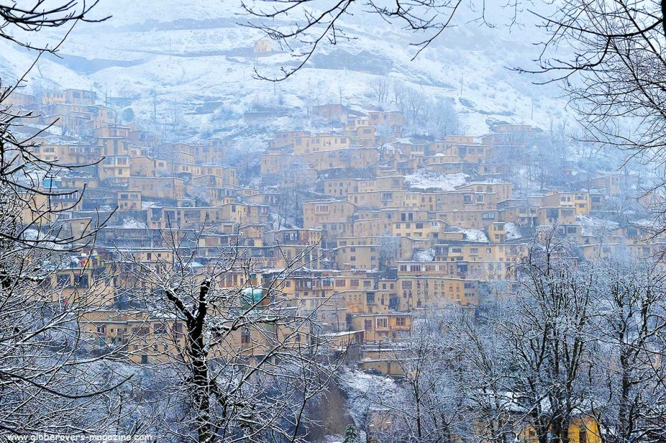 Snowing over the village of Masuleh, Iran