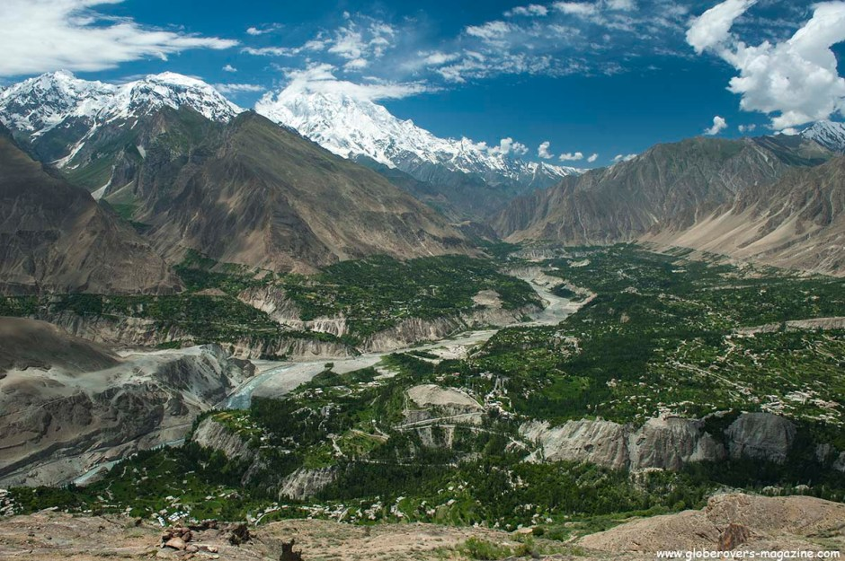 "Views of Rakaposhi Peak, Karimabad and Hunza River from ""Eagle's near Nest Hotel"" in Duker Village, Lower Hunza Valley, PAKISTAN"