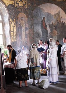Praying at Refectory Church (of St. Anthony and Feodosiy), Monastery of the Caves (Kiev Pechersk Lavra), Kiev, Ukraine