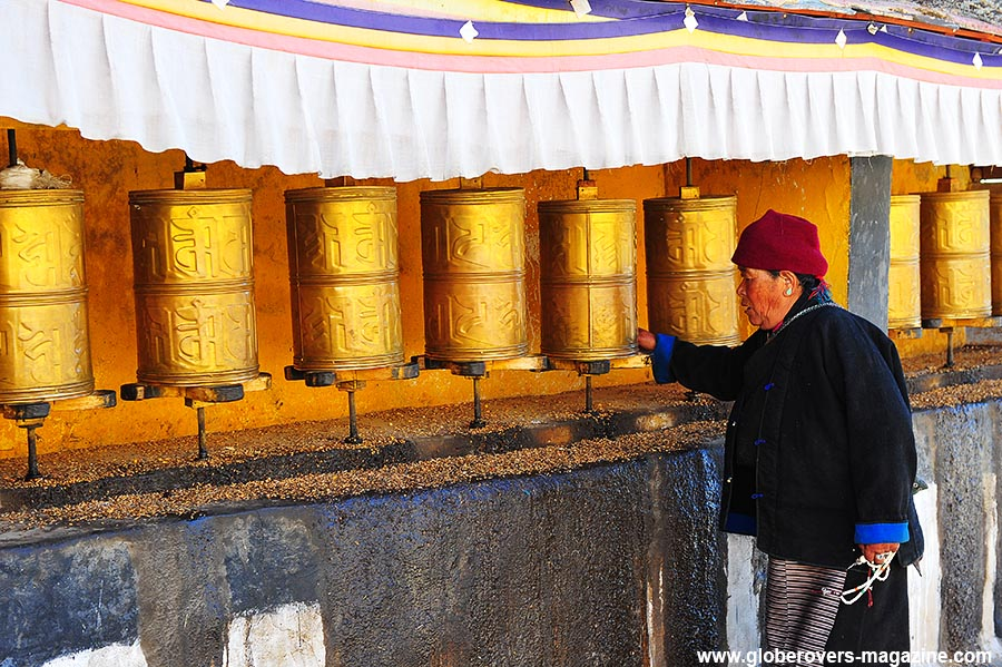 Prayer wheels at Drepung Monastery, Lhasa, TIBET