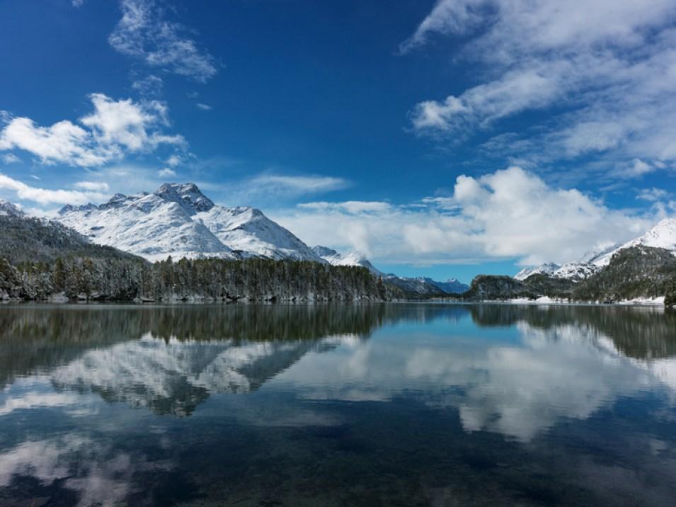Silsersee Herbst Schnee Alpen Schweiz