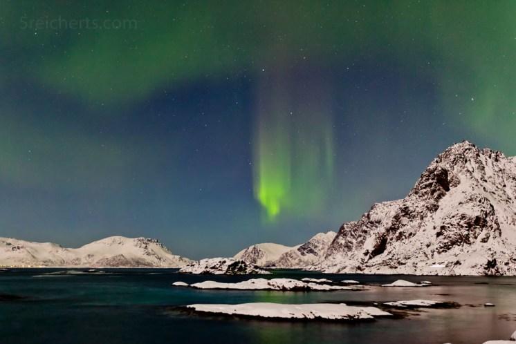 Nordlicht in Vollmondnacht, Henningsvaer, Lofoten