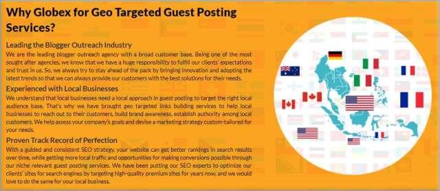 Globex Outreach Services de publication d'invités spécifiques au pays