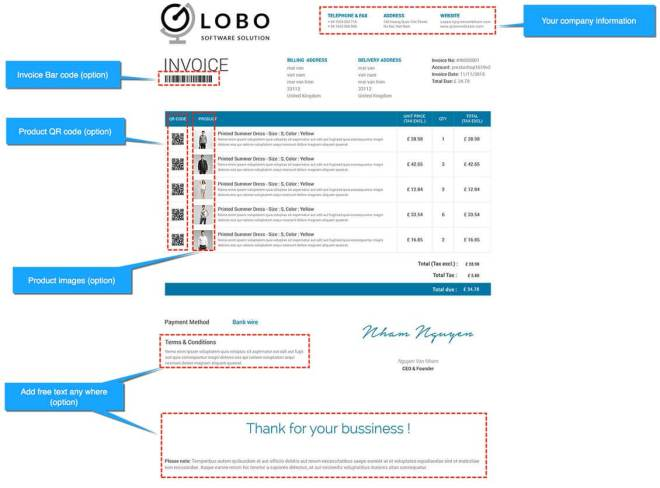 edit invoice template prestashop module