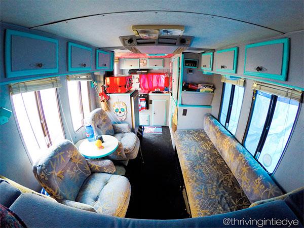 thrivingintiedye.com - inside RV - Road trip