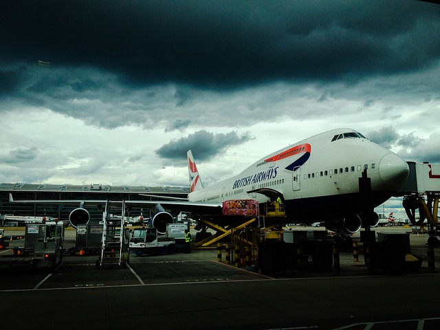 British Airways jet under storm clouds