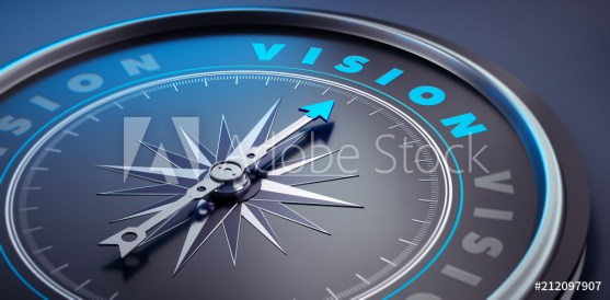 A clock clockwise directed to a vision word while they're running.