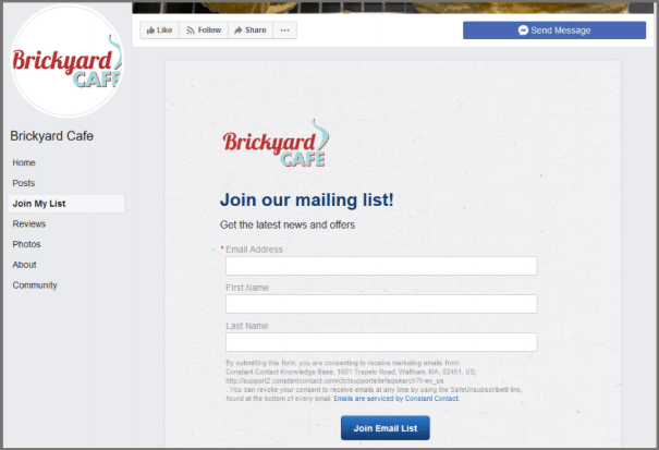 Facebook Join My List App to grow your email list.