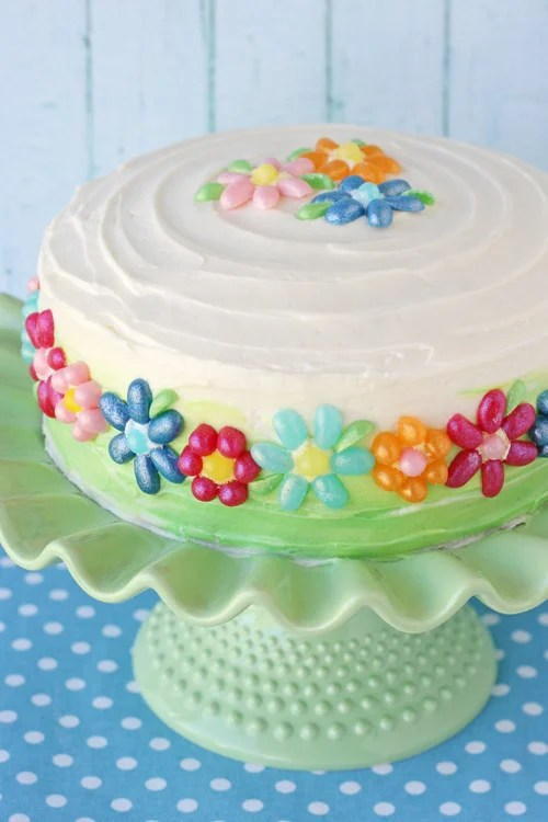 5 Easy Ways to Decorate a Birthday Cake // Get creative and use candy to make a simple design. Easy cake decorating idea! // BumbleBits.co