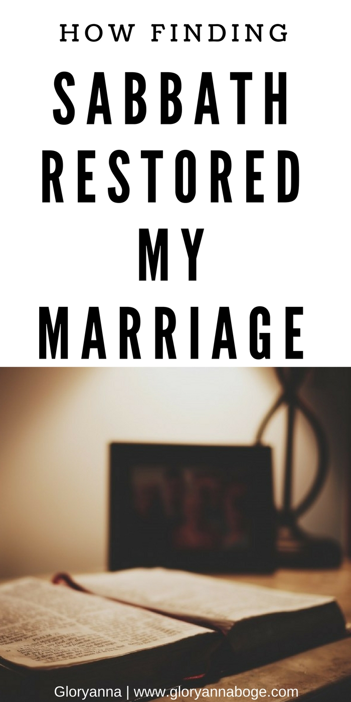 How finding Sabbath and practicing Sabbath rest helped restore my marriage. Some of the best marriage advice you'd least expect found in learning about Sabbath rest.