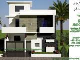 30x60 corner house front elevaiton-1