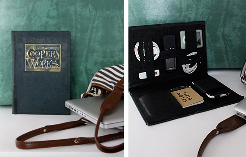 Practical DIY Gifts For Him: Vintage Book Travel Tech Organizer via Design Sponge