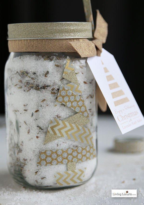DIY Christmas Gifts For MOM: Lavender Bath Salt Gift in a Jar