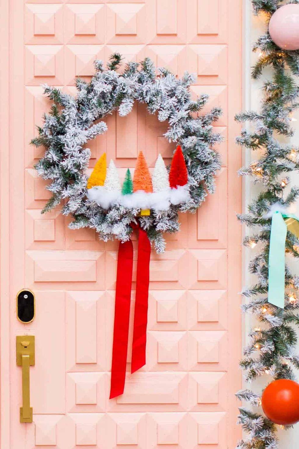 DIY Rainbow Sisal Trees Wreath