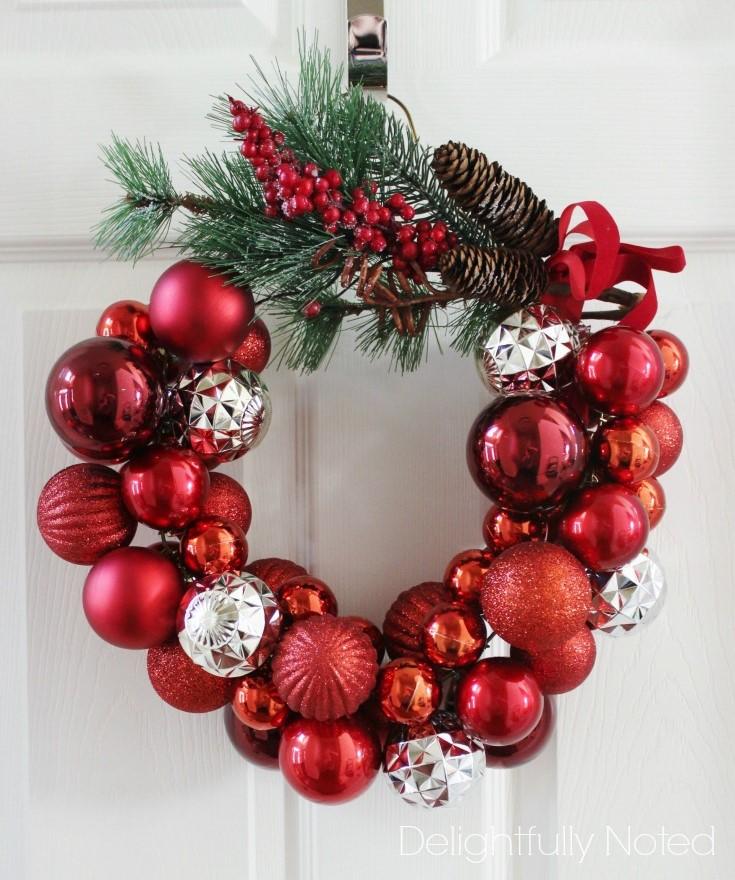 Easy DIY Wire Hanger Christmas Ornament Wreath