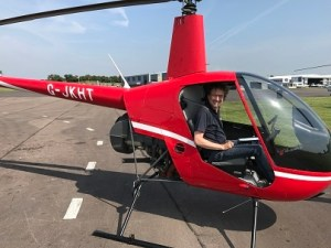 Another helicopter pilot successfully completes his first solo flight at Gloucestershire Airport