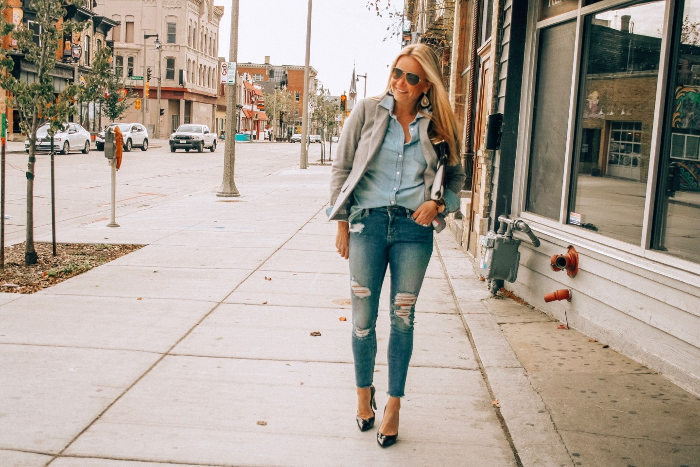 Grey with blazer with all denim look for work