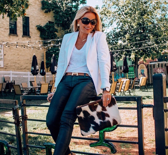 Fall Work Outfit- White Blazer and Black Coated Denim