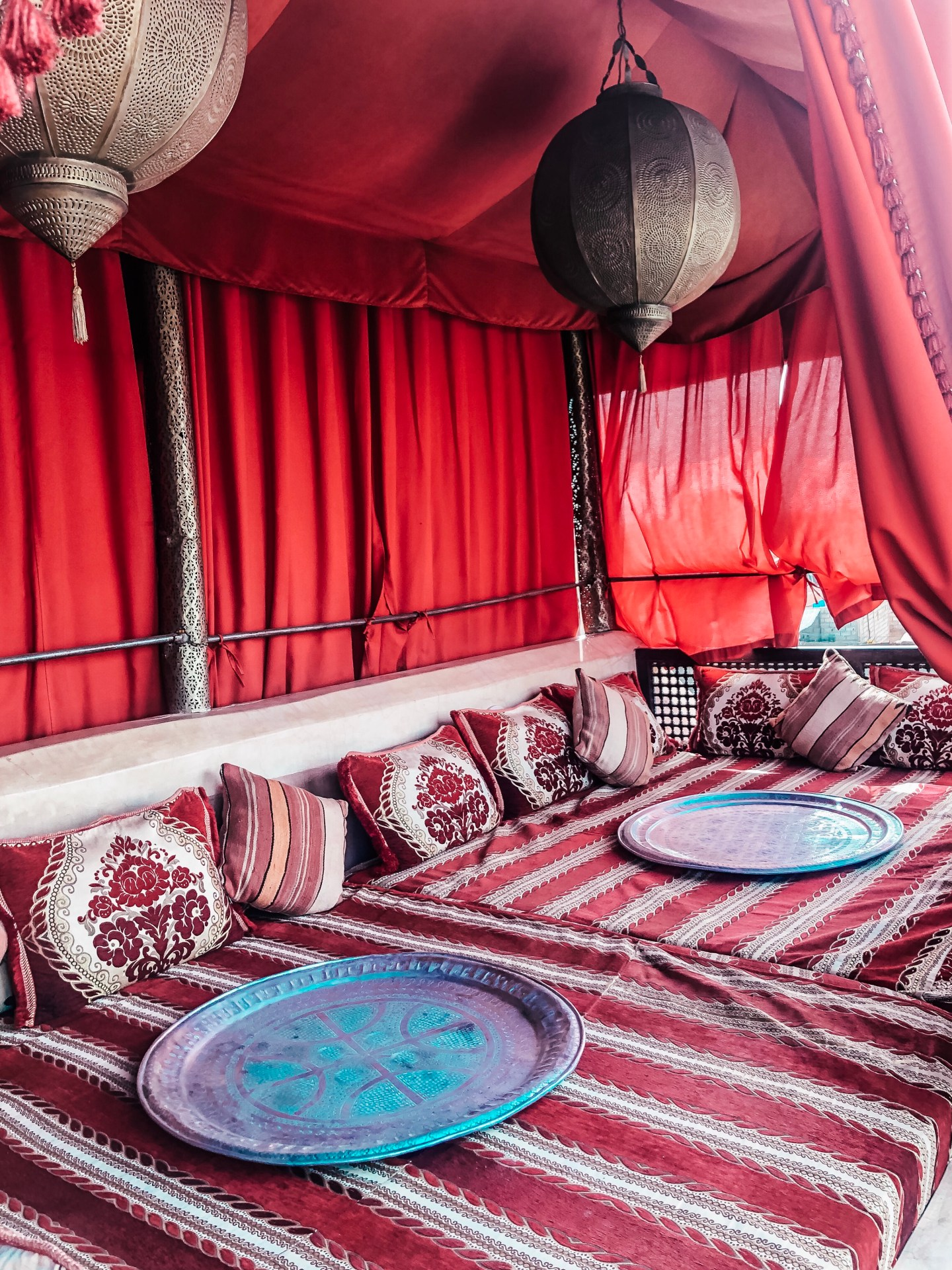 Rooftop sitting area at the Riad Anayela, Marrakech, Morocco