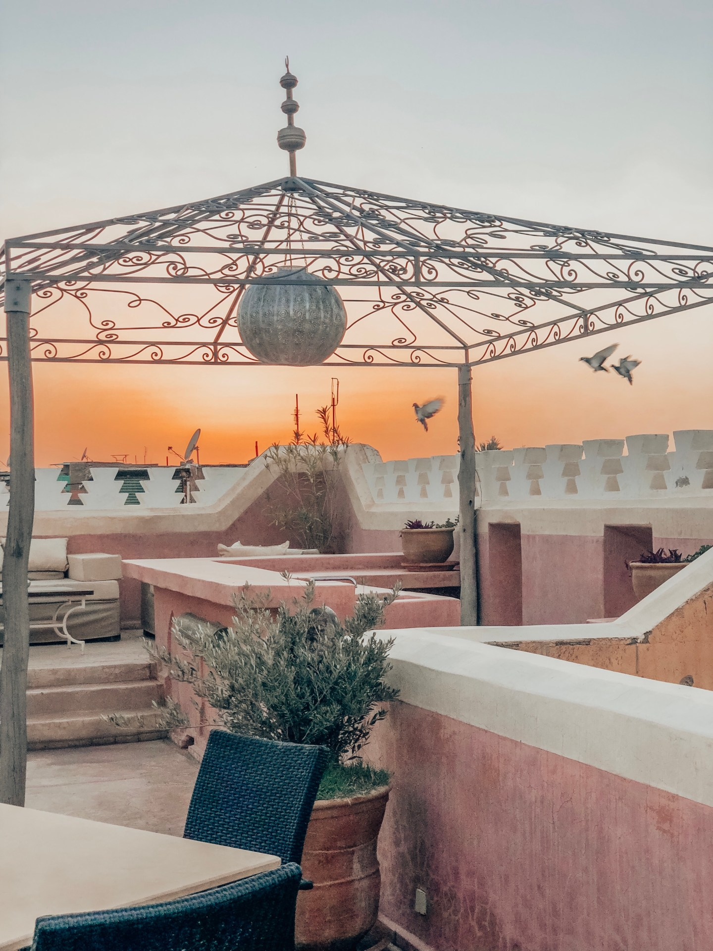 Sunset on the rooftop—Marrakech, Morocco