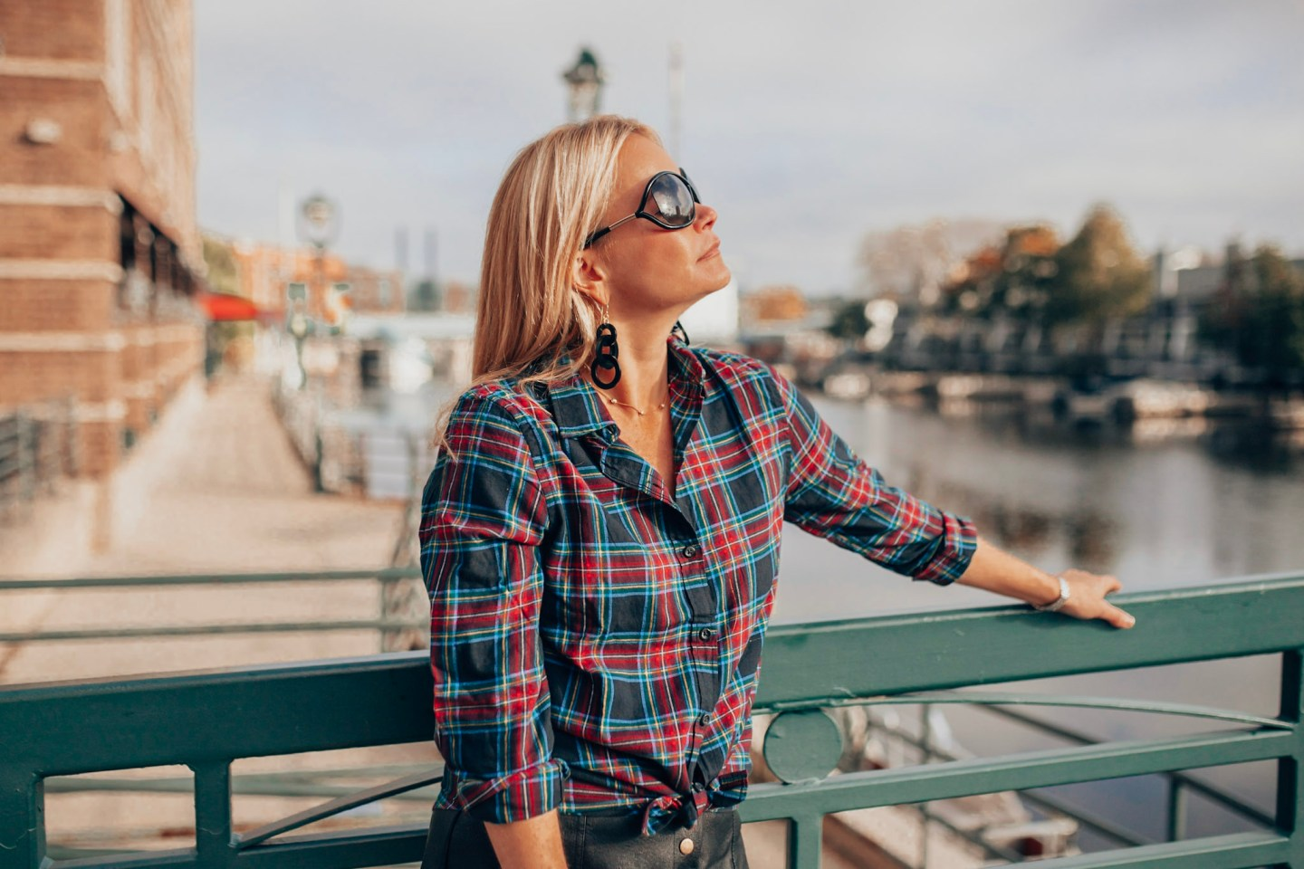 Holiday Plaid Picks- Plaid button down top with Lisi Lerch acryllic earring seen on style and travel blog, Gloss and Harbour.