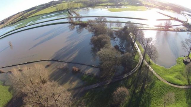 Flooding around Bodiam Castle