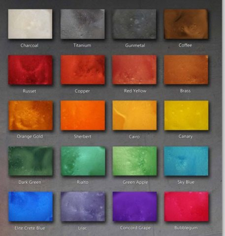 Epoxy Floor Color Chart  Stained Polished Concrete Color Chart REFLECTOR Color Chart