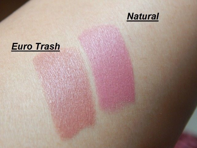 NYX MATTE LIPSTICK Eurotrash and Natural review and swatches 5