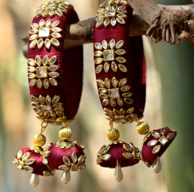 Thread bangles with hanging embellishments