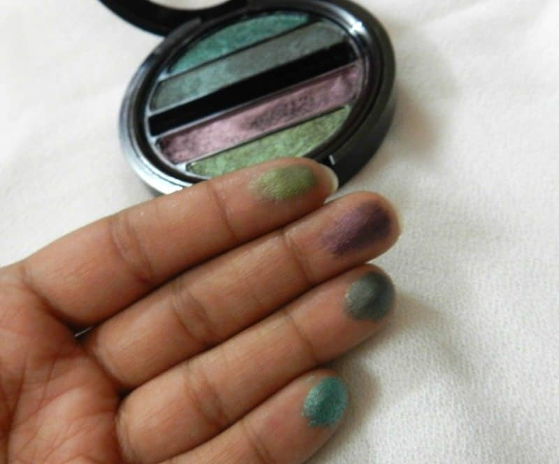 Faces I shine Green Quartet Eye Shadow Review 3