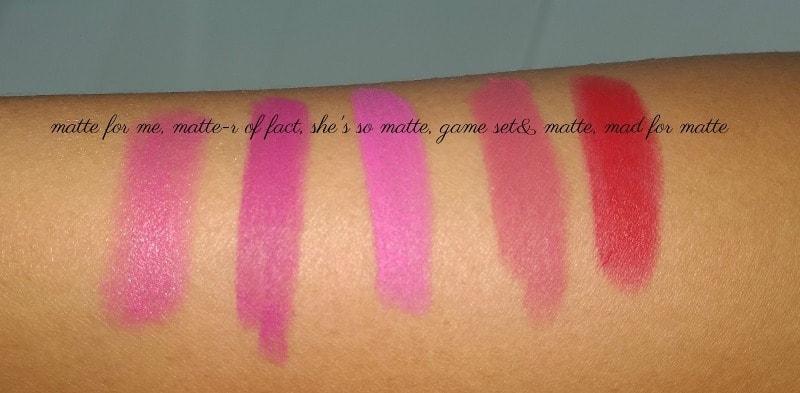 L'oreal Paris Color Riche Le Matte Lipstick Matte For Me, Matte-R Of Fact, Game,Set & Matte, Shez So Matte, Mad For Matte Review And Swatches 3