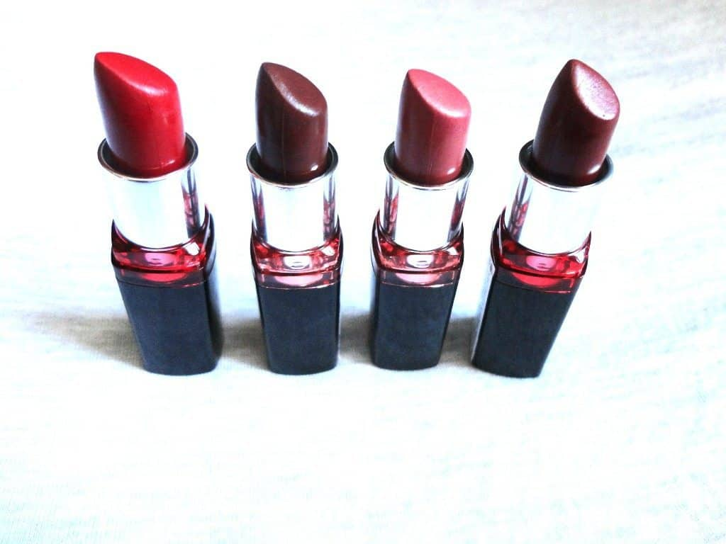 Maybelline Colorshow Lipstick Red Rush , Choco Latte , Wine Festival And Coffee Break Swatches And Review