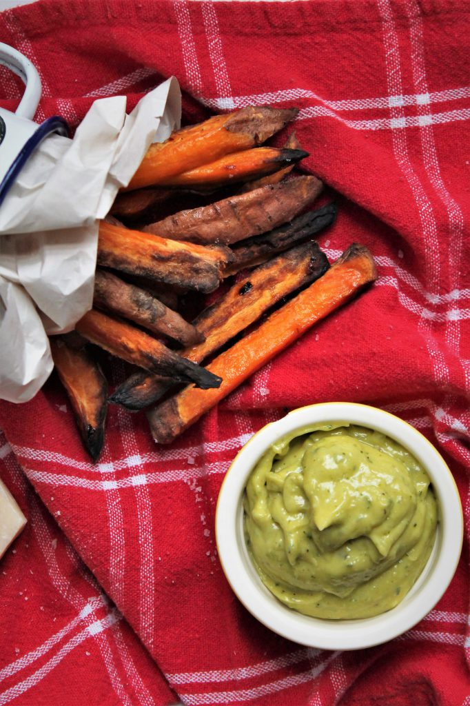Sweet Potato Wedges with Parmigiano Reggiano and Basil Mayonnaise