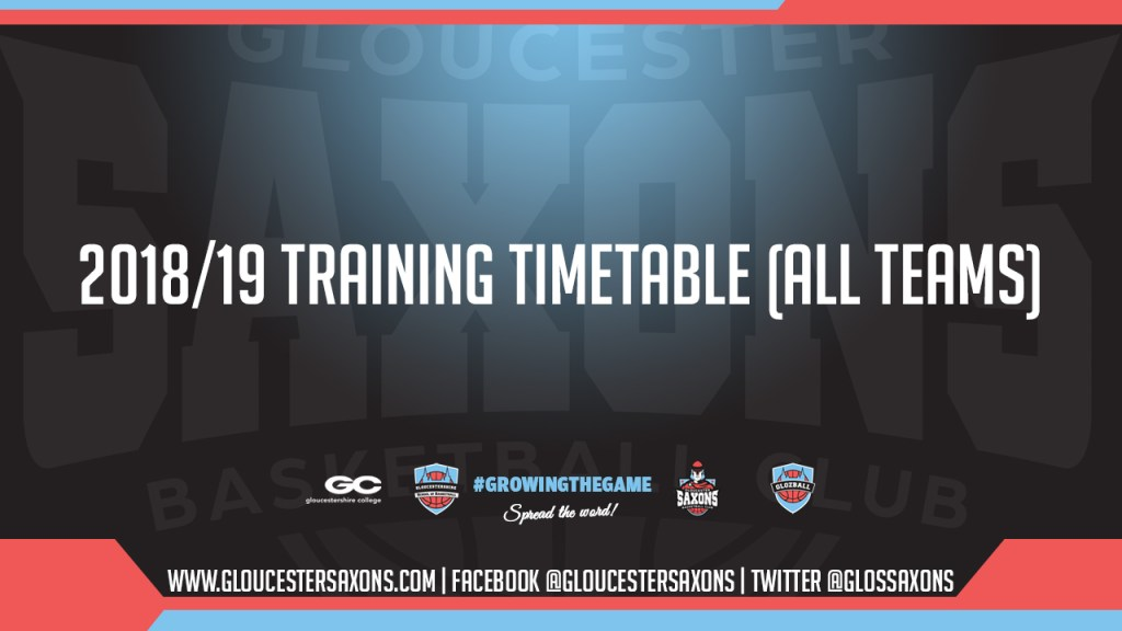 2018/19 Training Timetable (ALL TEAMS)