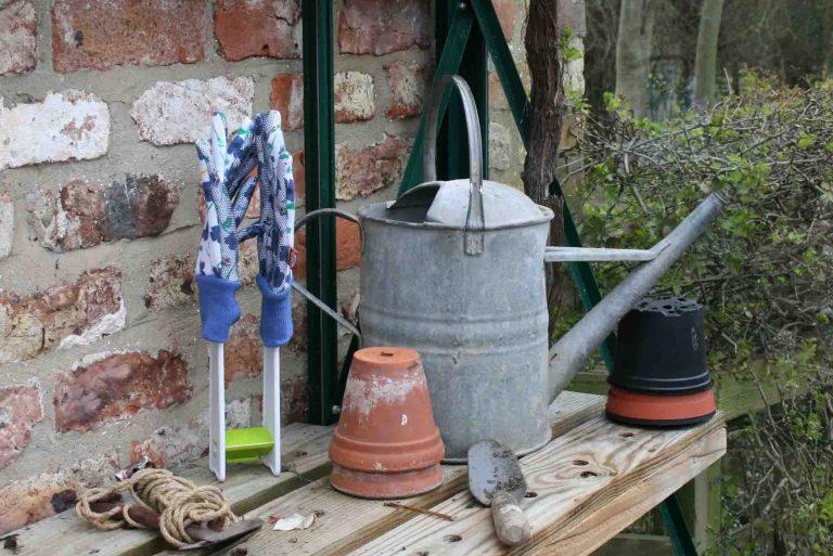 gardening gloves drying rack glasshouse