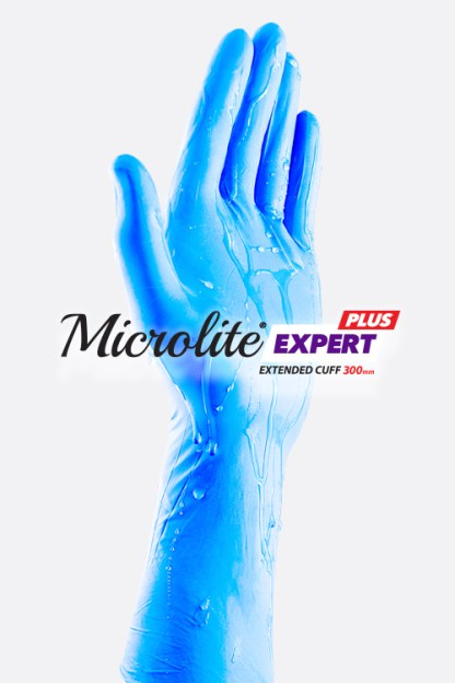 Microlite EXPERT PLUS Blue Nitrile Long Cuff Gloves featuring Easy On Technology