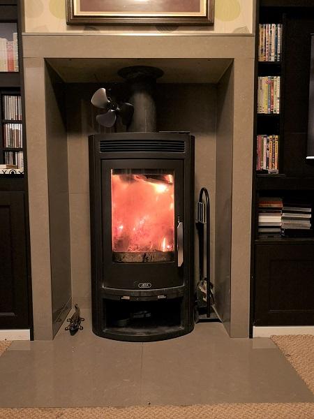 contemporary wood burner installed in Taunton, Somerset.